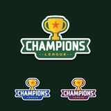 Champion sports league logo emblem badge graphic with trophy.  Royalty Free Stock Photo
