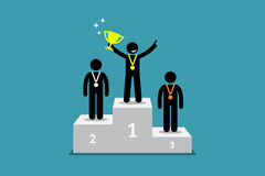 Champion standing on a podium with first and second runner up. Vector artwork depicts champion, winner, triumph, and greatest Stock Photo