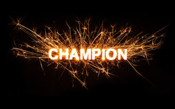 CHAMPION title word in glowing sparkler Stock Images
