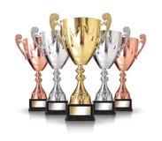 Champion trophies. On white background Stock Photo