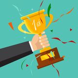 Champion trophy flat icon. Golden winner cup. Championship and l. Championship and leadership isolated illustration. First place winner concept. Vector. Champion Royalty Free Stock Photo