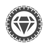 Champion trophy icon with diamond Stock Photography