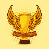 Champion trophy with wings for Cricket. Retro Champion trophy with wings on stylish yellow background for Cricket Stock Photos