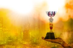 Champion trophy winner award cup. For victory with your business stock image