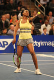 Champion Venus Williams de Grand Chelem des Etats-Unis dans l'action pendant événement de tennis d'anniversaire d'épreuve de forc Images libres de droits