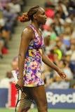 Champion Venus Williams de Grand Chelem des Etats-Unis dans l'action pendant son match du rond 3 à l'US Open 2016 Photos stock