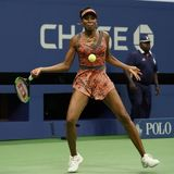 Champion Venus Williams de Grand Chelem des Etats-Unis dans l'action pendant son match du rond 4 à l'US Open 2017 Photo stock