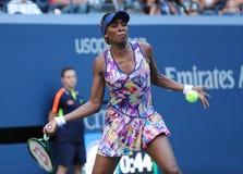 Champion Venus Williams de Grand Chelem des Etats-Unis dans l'action pendant son premier match de rond à l'US Open 2016 Photo stock