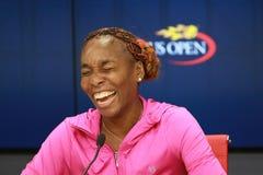 Champion Venus Williams de Grand Chelem des Etats-Unis pendant la conférence de presse chez Billie Jean King National Tennis Cent Image stock