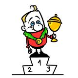 Champion victory podium cartoon illustration Royalty Free Stock Photo