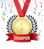 Champion, winner, number one background template. Champion, winner, number one background with red ribbon, gold medal, olive branch and confetti on white Royalty Free Stock Images
