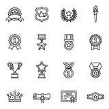 Champion, winner, trophy, award icons set. Thin Line Style stock vector. stock photography