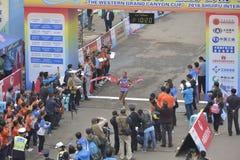 The champion of the women's marathon Royalty Free Stock Photo