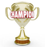 Champion Word Golden Trophy Prize Best Performance Royalty Free Stock Photo