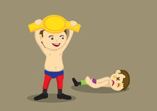 Champion Wrestler Vector Cartoon Illustration. Happy wrestler holding up a gold belt and his beaten up opponent lying unconscious on the ground. Vector royalty free illustration