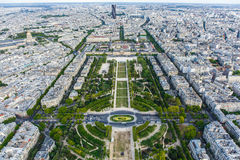 Championde beschädigt Ansicht vom Eiffelturm Lizenzfreies Stockbild