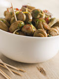 Championes al Ajillo- Chilli marinated Mushrooms Stock Photo