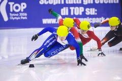 Championnat court européen de patinage de vitesse de piste Photographie stock
