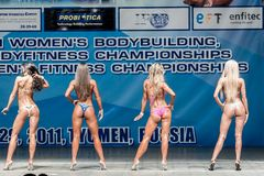 Championnat de Bodyfitness de femmes dans Tyumen Russie Image stock