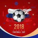 Championnat 2018 du football avec la boule et le drapeau de la Russie Image libre de droits