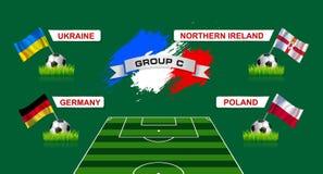 Championnat du football du groupe C de Frances avec des drapeaux de countr européen Image stock