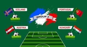 Championnat du football du groupe F de Frances avec des drapeaux de countr européen Photo libre de droits