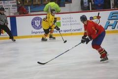 CHAMPIONNAT du MONDE de HOCKEY SUR GLACE de 2017 IIHF - Roumanie contre l'Espagne Photo stock