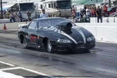 Drag car ready to start at the starting line Royalty Free Stock Photography