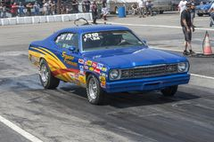 Plymouth duster on the track Stock Photos