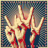 We are the champions. The Victory sign, hand gesture on stylized background with beams and stars Stock Image