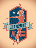 Champions We Are. Badge design of champions with a pretty figure skater on ice. Editable vector illustration Stock Images