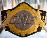 Champions Belt. Marina Bay Sands, Singapore on May 14, 2018. World Champions belt on display at the One Championship `Unstoppable Dreams` press conference Royalty Free Stock Photos