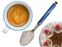 Champions breakfast. Breakfast with coffee, cake and yogurt Stock Images