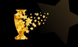 Champions cup. Gold star particles form sport trophy silhouette. Champions cup background. Gold star particles form a sport trophy silhouette stock illustration