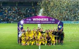 Champions d'Européen d'équipe nationale du football de la Suède Image libre de droits