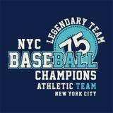 CHAMPIONS de BASE-BALL de NYC graphiques Image stock