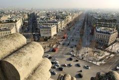 Champions Elysees à partir de dessus d'Arc de Triomphe Images stock