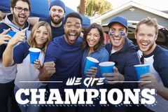 We are Champions Fans Tailgating In Stadium Car Park stock photo