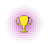 Champions gold cup icon, comics style. Champions gold cup icon in comics style  on white background Royalty Free Stock Image