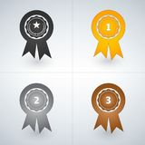 Champions gold, silver and bronze award badges. First, second and third places awards. Vector illustration. Isolated on light background royalty free illustration