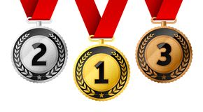 Champions gold, silver and bronze medals. Champions gold, silver and bronze award medals with red ribbon. First, second and third places awards vector illustration