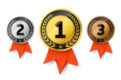Champions gold, silver and bronze medals. Champions gold, silver and bronze award medals with red ribbon. First, second and third places awards royalty free illustration