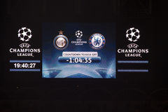 Champions league. Board of the score in the match during a champions league match - Internazionale and Chelsea - in Milan - Italy stock photos