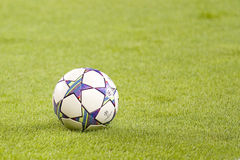 Champions League ball. BARCELONA - SEPTEMBER 13: Champions League ball during the UEFA Champions League match between FC Barcelona and AC Milan, 2 - 2, on royalty free stock image