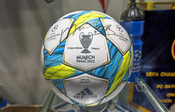 Champions League Ball. From the final game 2012 in FC Chelsea museum stock images