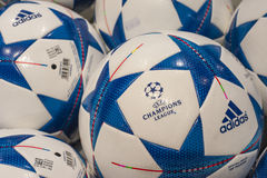Champions League Ball. Official ball of champions league in the shop royalty free stock images