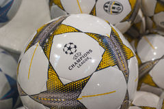 Champions League Ball. Official ball of champions league in the shop royalty free stock photo