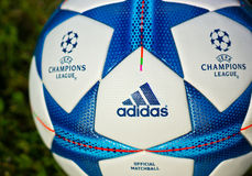 Champions league ball. ZAGREB , CROATIA - 13 AUGUST 2015 - close up detail of 2015-2016 European champions league official football from Adidas , product shot royalty free stock photos
