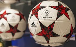 Champions league balls. Official champions league balls on sale in the fan shop of San Siro stadium. Milan, Italy royalty free stock images