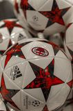 Champions league balls. Official champions league balls on sale in the fan shop of San Siro stadium. Milan, Italy royalty free stock photography